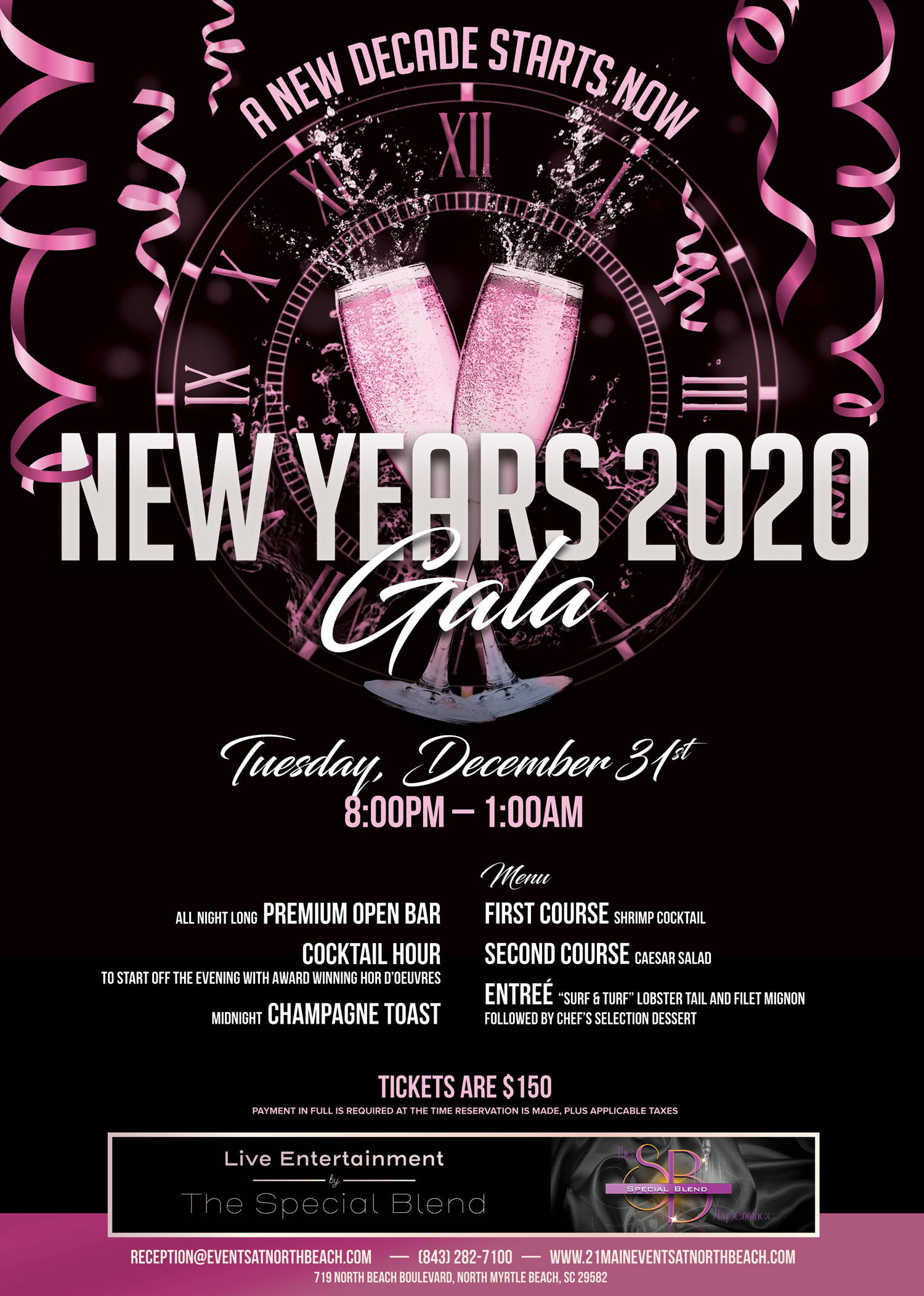 New Years Eve Gala at North Beach 2019 call for more information