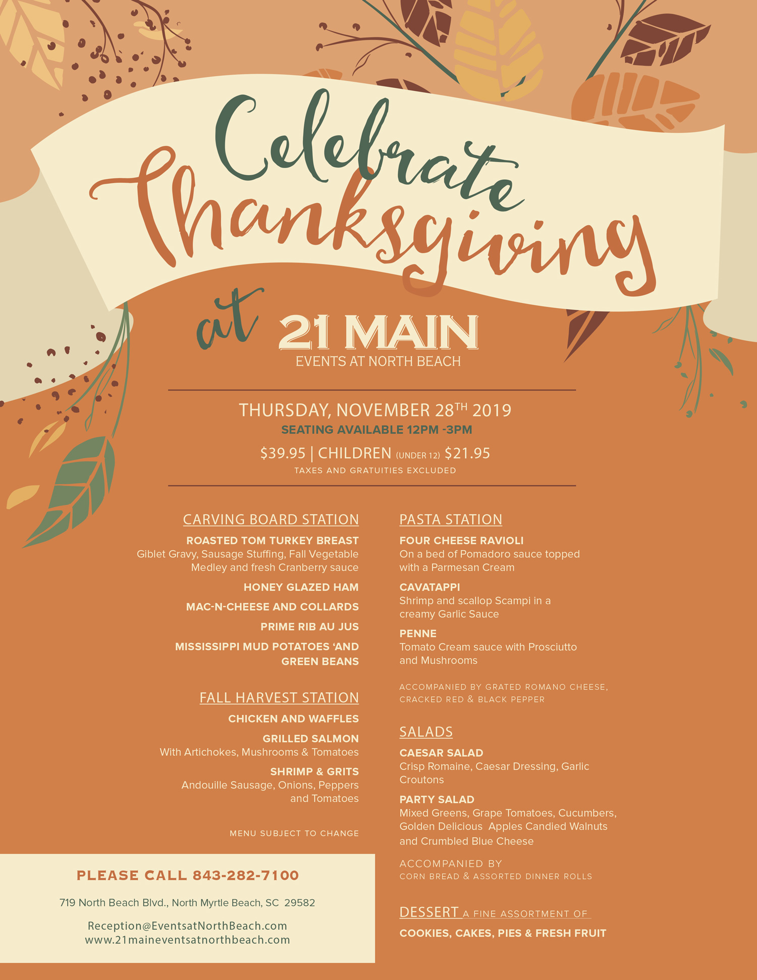 Thanksgiving at North Beach 2019 call for more information